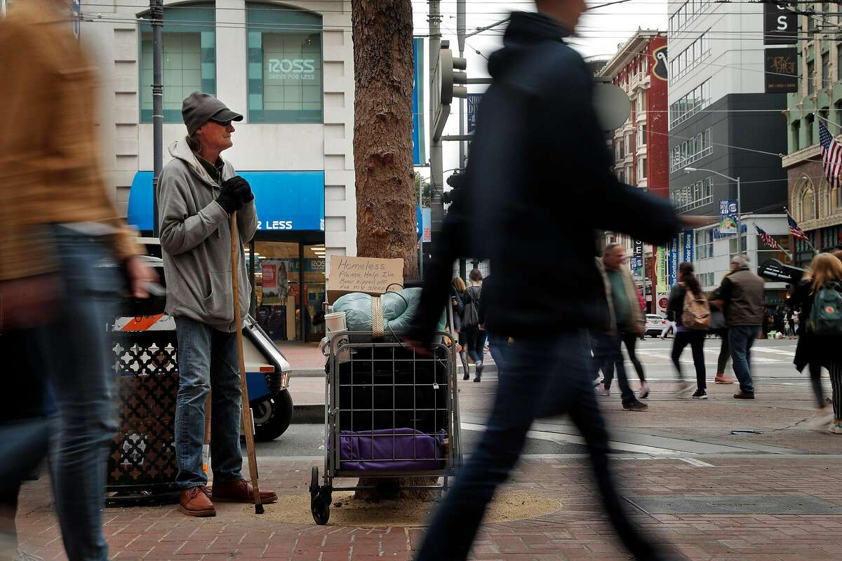 Rick (no last name given) panhandles at the intersection of Market and Fourth Streets in San Francisco, Calif., on Wednesday, April 4, 2018. It's not just hotel owners who are getting the brunt of tourists' complaints about how disgusting San Francisco's streets have become. It's also S.F. Travel, the city's visitor bureau that's in charge of promoting the city and bringing conventions and conferences here. Increasingly, their clients are fed up and threatening to scratch SF off the convention circuit.