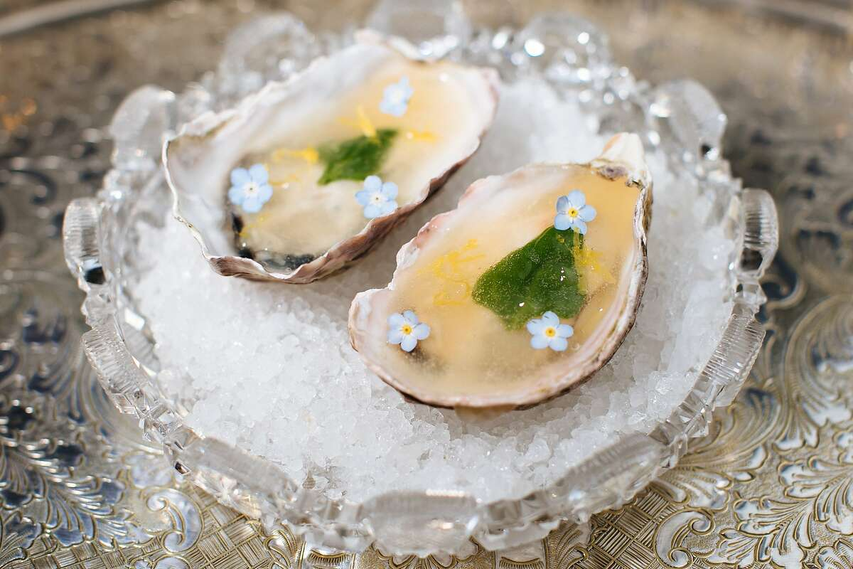 Ice poached oysters photographed at the Bar Crenn In San Francisco, Calif., Saturday, April 14, 2018.