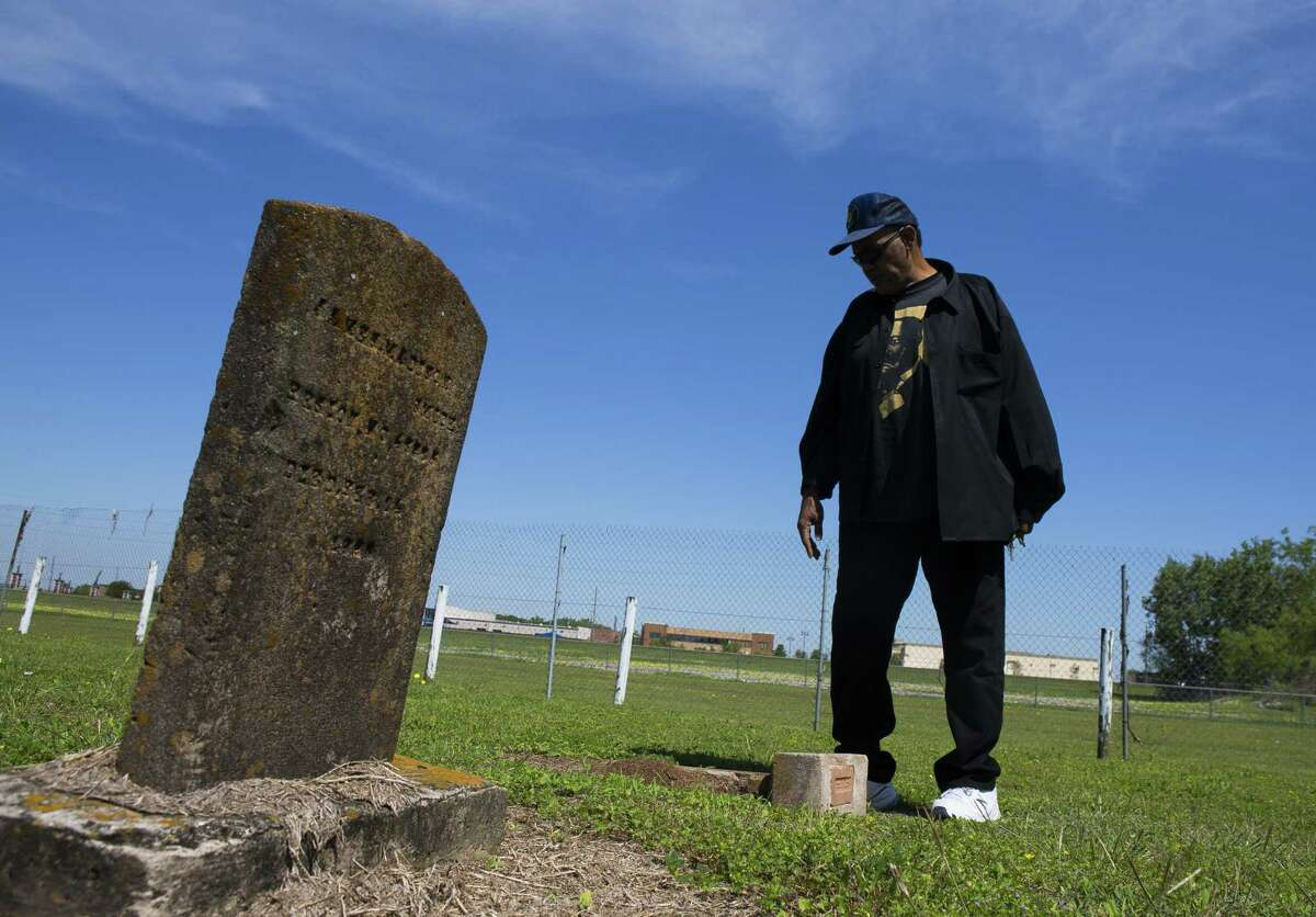 Reginald Moore, who has been striving for years to get recognition for the Old Imperial Farm cemetery that houses some bodies believed to be a part of the convict leasing system in Sugar Land, stands inside the cemetery wherehe serves as the steward, Tuesday, April 10, 2018, in Sugar Land. Fort Bend ISD and the Texas Historical Commission have identified a historic cemetery on the site of a new technical center under construction near the area where Moore has been focused for years.