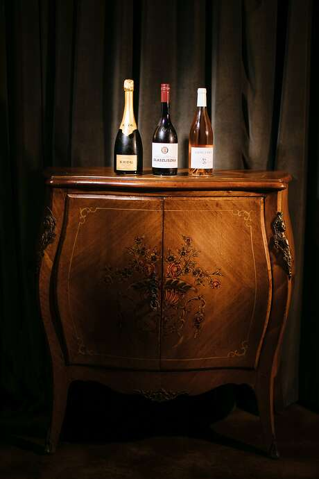 Three offerings at Bar Crenn, from left: Krug champagne, Olaszliszka Tokaji Harslevelu and La Raimbauderie Sancerre. Photo: Mason Trinca / Special To The Chronicle