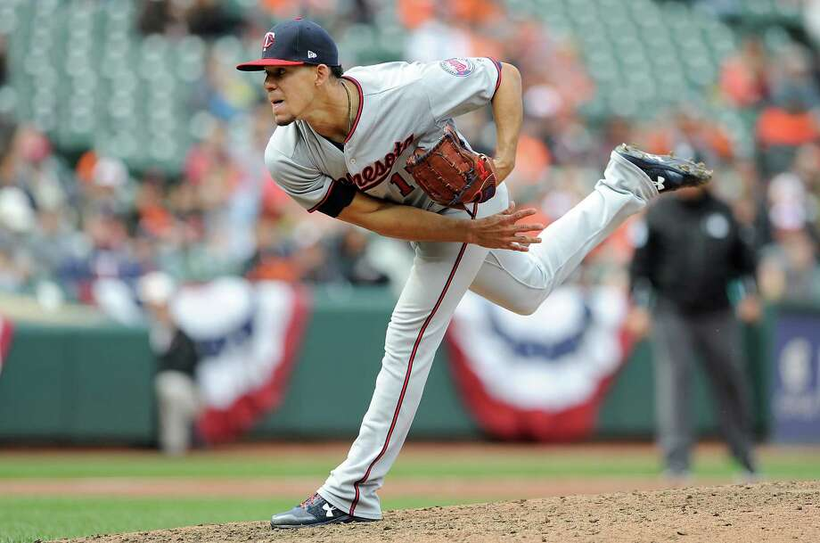 BALTIMORE, MD - APRIL 01:  Jose Berrios #17 of the Minnesota Twins pitches in the ninth inning against the Baltimore Orioles at Oriole Park at Camden Yards on April 1, 2018 in Baltimore, Maryland. Berrios threw a complete game shutout.  (Photo by Greg Fiume/Getty Images) Photo: Greg Fiume / 2018 Getty Images
