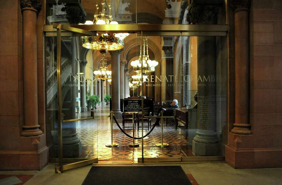 Glass doors leading to the senate chamber at the Capitol on March 21, 2013 in Albany, N.Y. (Lori Van Buren / Times Union) Photo: Lori Van Buren