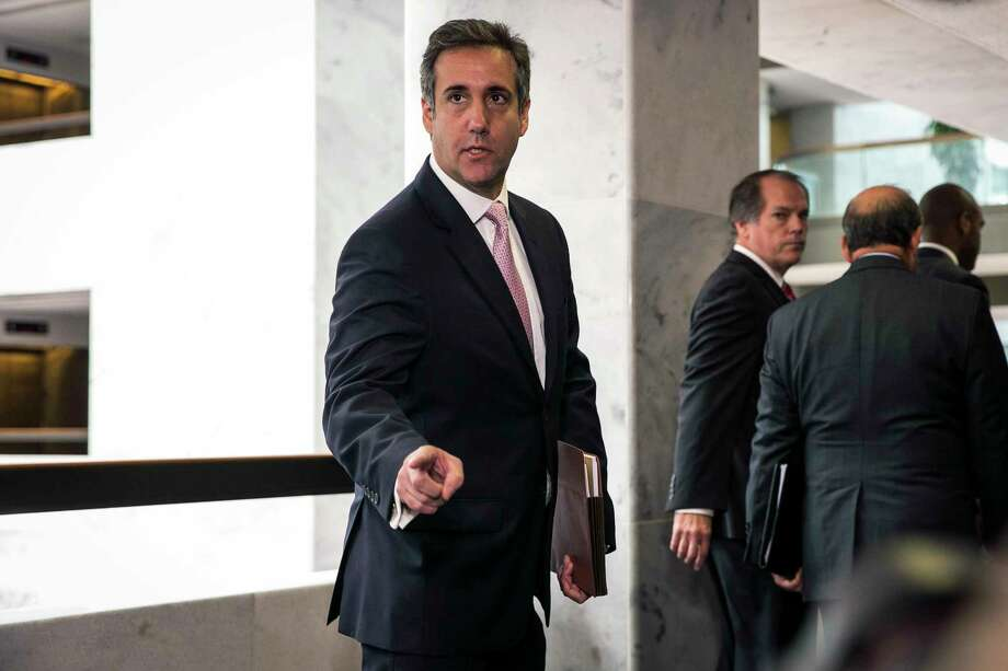 FILE -- Michael Cohen, President Donald Trump's longtime personal lawyer, speaks to reporters after a closed-door meeting with the Senate Intelligence Committee in Washington on Sept. 19, 2017. The FBI raided Cohen's office on Monday, April 9, 2018, seizing records related to several topics including payments to a pornographic-film actress. (Al Drago/The New York Times) Photo: AL DRAGO / NYTNS