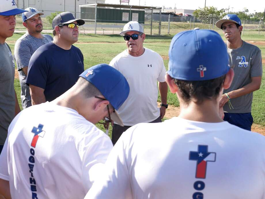 Mario Garcia, in his second season as St. Augustine's head baseball coach, hopes to make the Knights competitive in their district and with other teams in Laredo. Photo: Cuate Santos /Laredo Morning Times / Laredo Morning Times