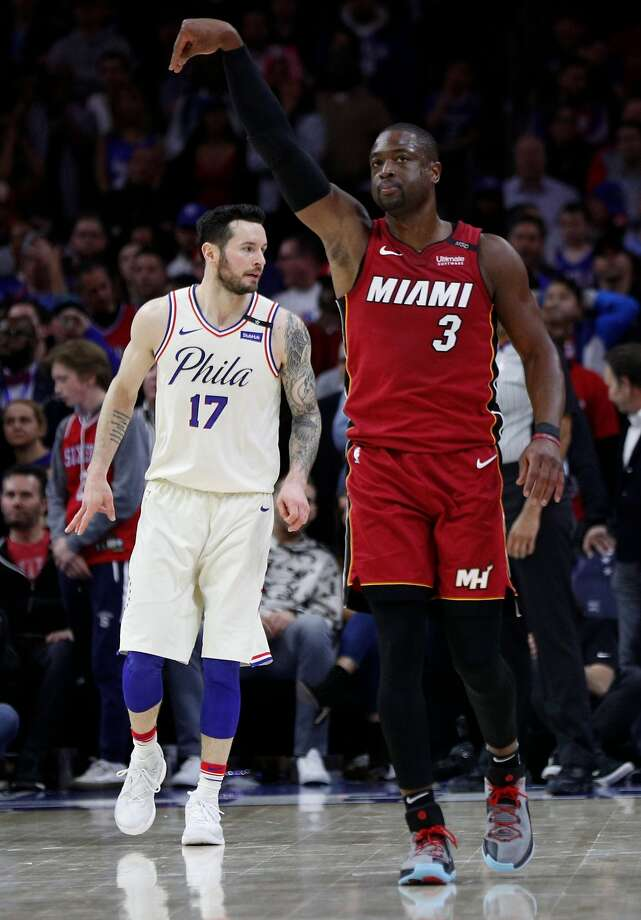 Dwyane Wade after a late basket that held off a 76ers rally. Photo: Chris Szagola / Associated Press