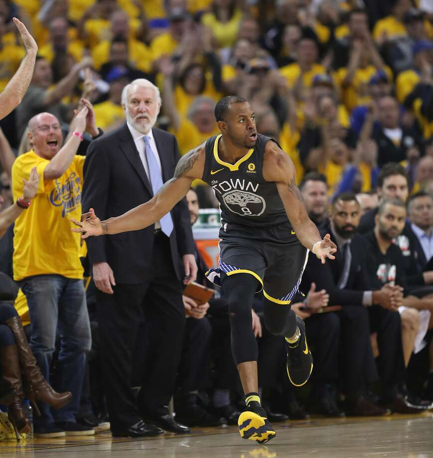 Andre Iguodala has moved from the bench to the starting lineup — a switch familiar from past Warriors playoff runs. He averages 8.5 points, 4.5 assists and 7 boards in the first two games. Photo: Scott Strazzante / The Chronicle