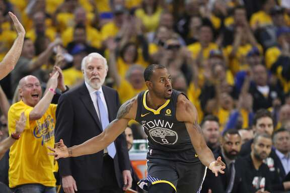 Golden State Warriors' Andre Iguodala reacts in the first quarter during game 2 of round 1 of the Western Conference Finals at Oracle Arena on Monday, April 16, 2018 in Oakland, Calif.