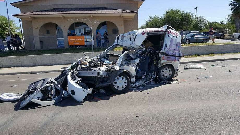 "Shown is one of the three vehicles involved in a crash on Monday morning in Zapata. Photo: Courtesy Photo /Zapata County Constable Pct. 2 Daniel ""Danny"" Arriaga"