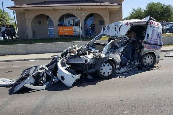 Shown is one of the three vehicles involved in a crash on Monday morning in Zapata.