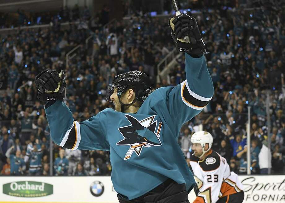 Marcus Sorensen celebrates after scoring one of the Sharks' four goals during a second-period onslaught in Game 3. Photo: Thearon W. Henderson / Getty Images / 2018 Getty Images