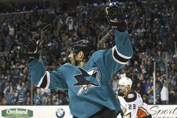 Marcus Sorensen celebrates after scoring one of the Sharks' four goals during a second-period onslaught in Game 3.