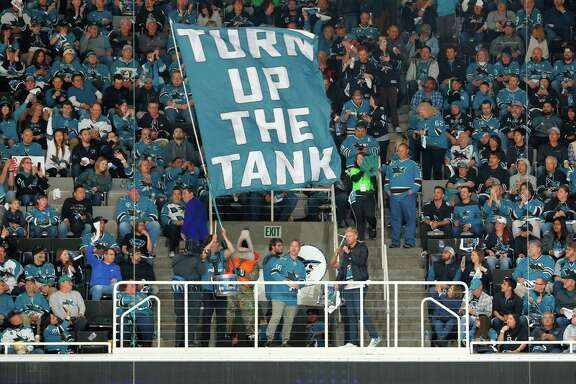 "S.J. Sharkie, San Jose's team mascot, and Sharks fans ""Turn Up The Tank"" in Game 3 at the Shark Tank in San Jose."