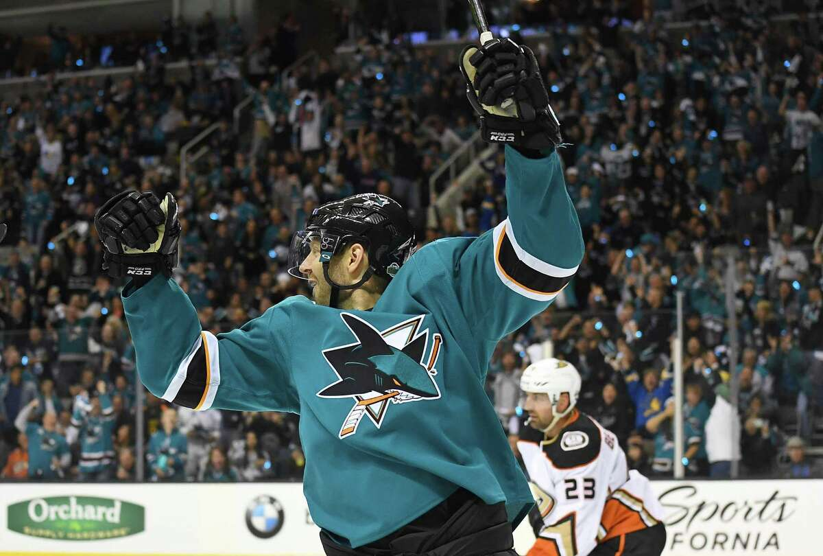 SAN JOSE, CA - APRIL 16: Marcus Sorensen #20 of the San Jose Sharks celebrates after scoring a goal against the Anaheim Ducks during the second period in Game Three of the Western Conference First Round during the 2018 NHL Stanley Cup Playoffs at SAP Center on April 16, 2018 in San Jose, California. (Photo by Thearon W. Henderson/Getty Images)