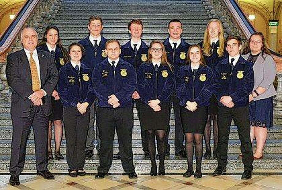 State Sen. Sam McCann, R-Plainview, meets with a group of FFA students from the Triopia chapter. Photo:       Photo Provided