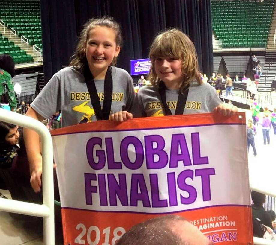 Bad Axe sixth graders Regan Hobkirk and Andrew Clarent are a part of their school's Destination Imagination Improv Team. Together, the two took third place and advanced to the Division I Global Finals in May in Knoxville, Tennessee. (Submitted Photo)