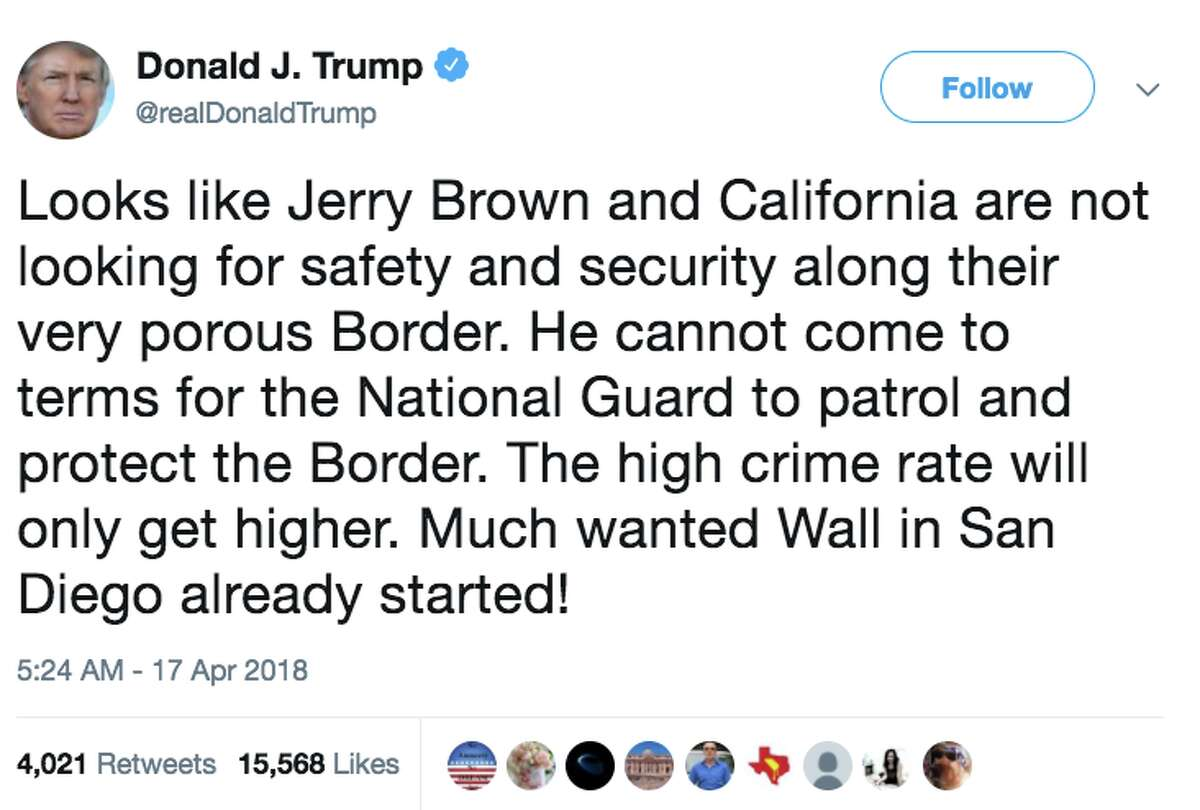 President Donald Trump fired off a tweet on Tuesday criticizing California Governor Jerry Brown's decision to limit the National Guard troops' mission along the border with Mexico.