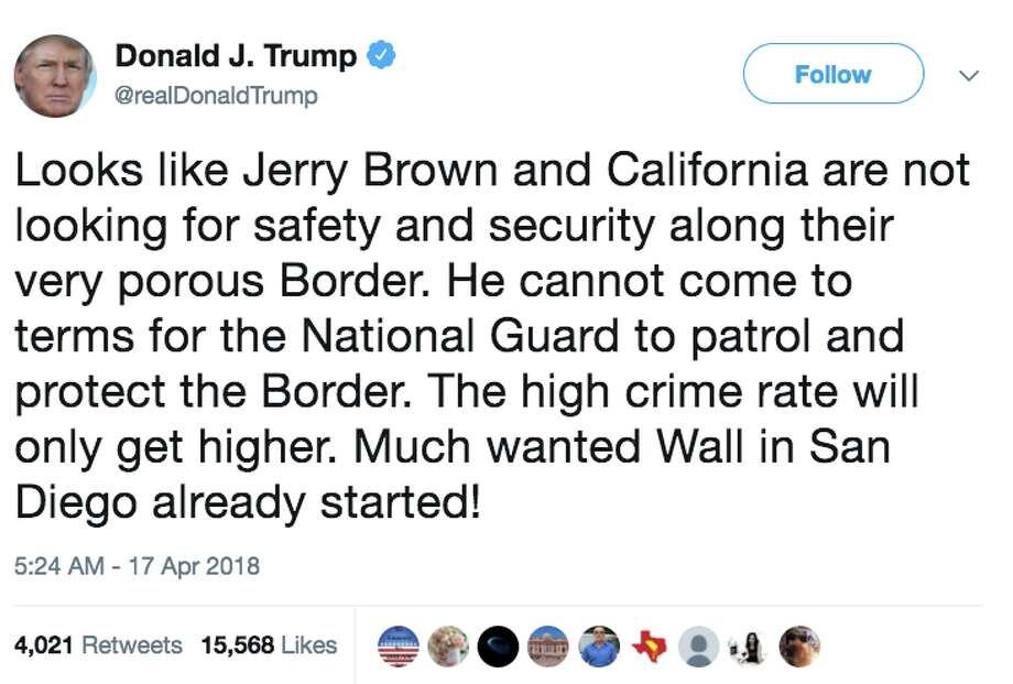 President Donald Trump fired off a tweet on Tuesday criticizing California Governor Jerry Brown's decision to limit the National Guard troops' mission along the border with Mexico. Photo: Twitter Screen Grab
