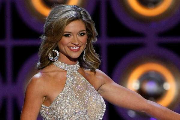 Brittany Jeffers, Miss Nebraska, competes in a preliminary evening gown competition for the 2010 Miss America Pageant at the Planet Hollywood Resort & Casino January 27, 2010 in Las Vegas, Nevada. The pageant will be held at the resort on January 30, 2010.