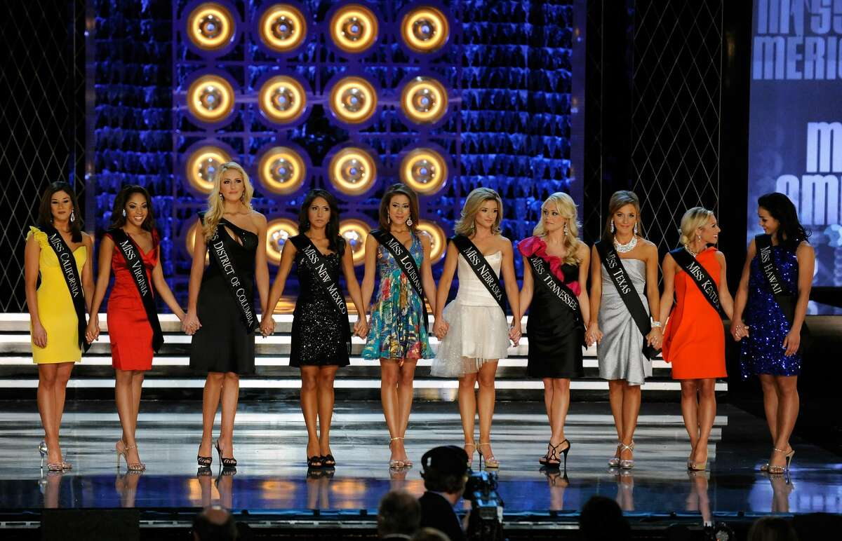 (L-R) Kristy Cavinder, Miss California, Caressa Cameron, Miss Virginia, Jen Corey, Miss District of Columbia, Nicole Miner, Miss New Mexico, Katherine Putnam, Miss Louisiana, Brittany Jeffers, Miss Nebraska, Stefanie Wittler, Miss Tennessee, Kristen Blair, Miss Texas, Mallory Ervin, Miss Kentucky, and Raeceen Anuenue Woolford, Miss Hawaii, wait to find out which of them will move on after the talent competition during the 2010 Miss America Pageant at the Planet Hollywood Resort & Casino January 30, 2010 in Las Vegas, Nevada. Cameron went on to be crowned the new Miss America.