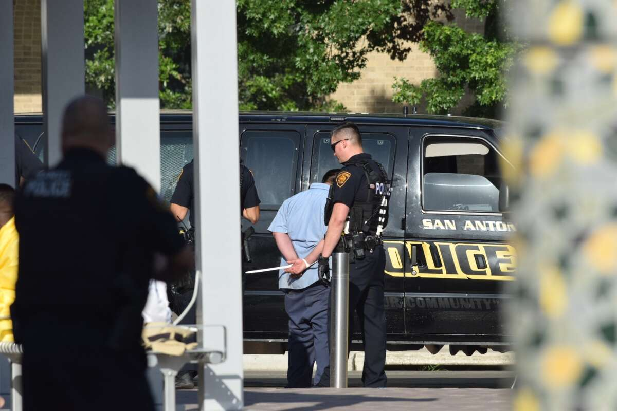 San Antonio police conducted a joint operation at the corner of Houston and Frio streets on Tuesday, April 17, 2018.