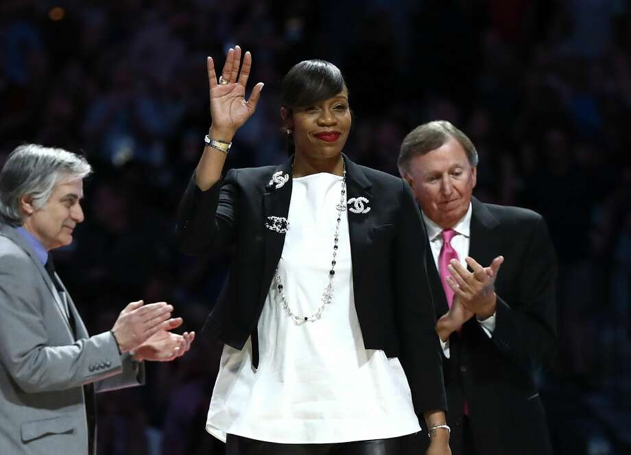SAN ANTONIO, TX - MARCH 31: 2018 Naismith Hall of Fame Inductee Tina Thompson is introduced during the 2018 NCAA Men's Final Four Semifinal between the Michigan Wolverines and the Loyola Ramblers at the Alamodome on March 31, 2018 in San Antonio, Texas.  (Photo by Ronald Martinez/Getty Images) Photo: Ronald Martinez/Getty Images