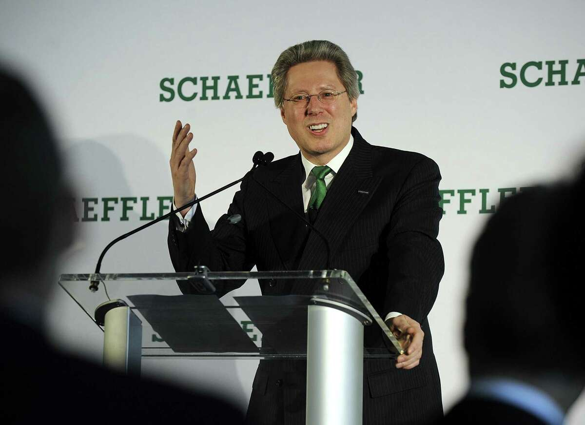 Georg F. W. Schaeffler, chairman of the supervisory board of Schaeffler AG, addresses a an event at its Danbury facility celebrating 75 years in business. Schaeffler, is a family-owned manufacturer of precision components and systems for automotive, industrial and aerospace sectors.