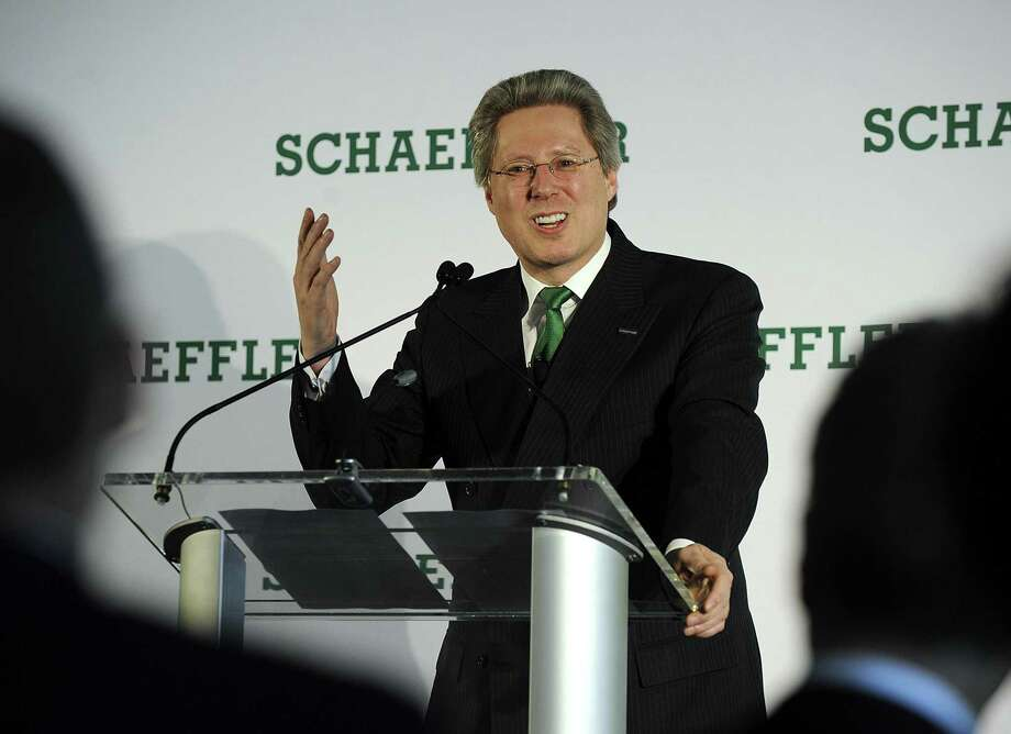 Georg F. W. Schaeffler, chairman of the supervisory board of Schaeffler AG, addresses a an event at its Danbury facility celebrating 75 years in business. Schaeffler, is a family-owned manufacturer of precision components and systems for automotive, industrial and aerospace sectors. Photo: Carol Kaliff / Hearst Connecticut Media / The News-Times