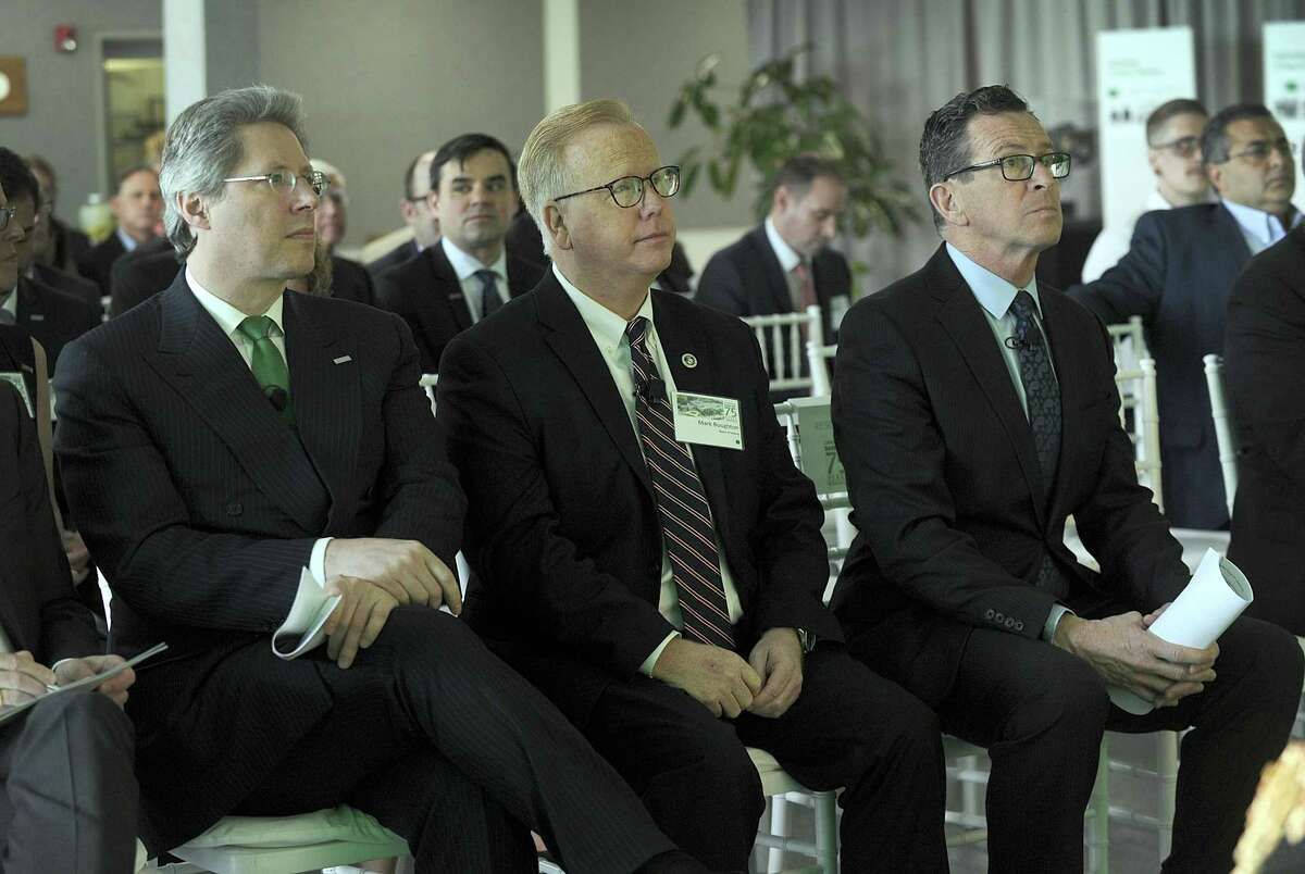 From left Georg F. W. Schaeffler, chairman of the supervisory board of Schaeffler AG, Mayor Mark Boughton and Gov. Dannel Malloy at a celebration of Schaeffler's 75 years in business, Monday, April 16, 2018. Schaeffler, a family-owned manufacturer of precision components and systems for automotive, industrial and aerospace sectors has a Danbury facility at 200 Park Ave.