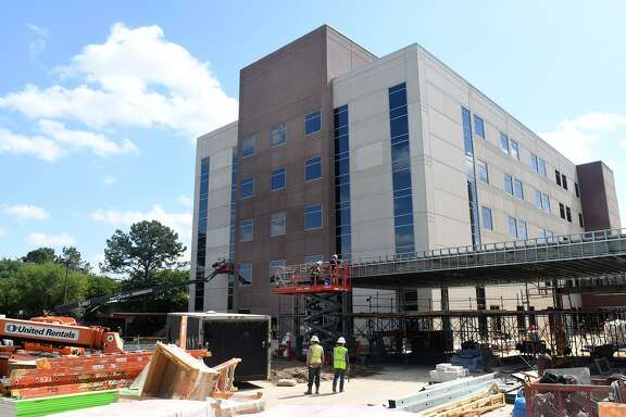 Construction continues at Memorial Hermann Northeast Hospital in Humble on April 12, 2018.