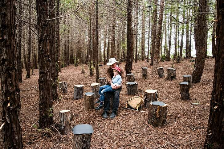 """Visitors listen to�Janet Cardiff and George Bures Miller�s """"Forest (for a thousand years�)"""" at the�UC Santa Cruz Arboretum and Botanic Garden."""