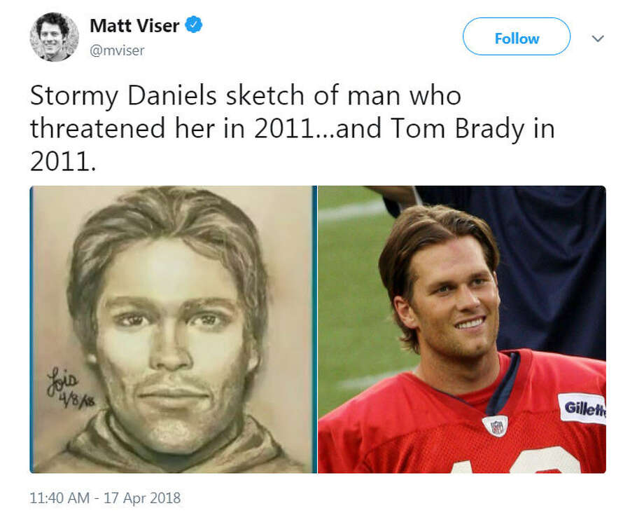A sketch of the man who adult film actress Stormy Daniels said threatened her in a Las Vegas parking lot in 2011 about her alleged affair with President Donald Trump was released on April 17, 2018. Twitter was quick to identify potential suspects.Image source: Twitter Photo: Twitter