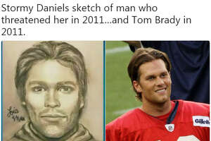 A sketch of the man who adult film actress Stormy Daniels said threatened her in a Las Vegas parking lot in 2011 about her alleged affair with President Donald Trump was released on April 17, 2018. Twitter was quick to identify potential suspects.  Image source:  Twitter