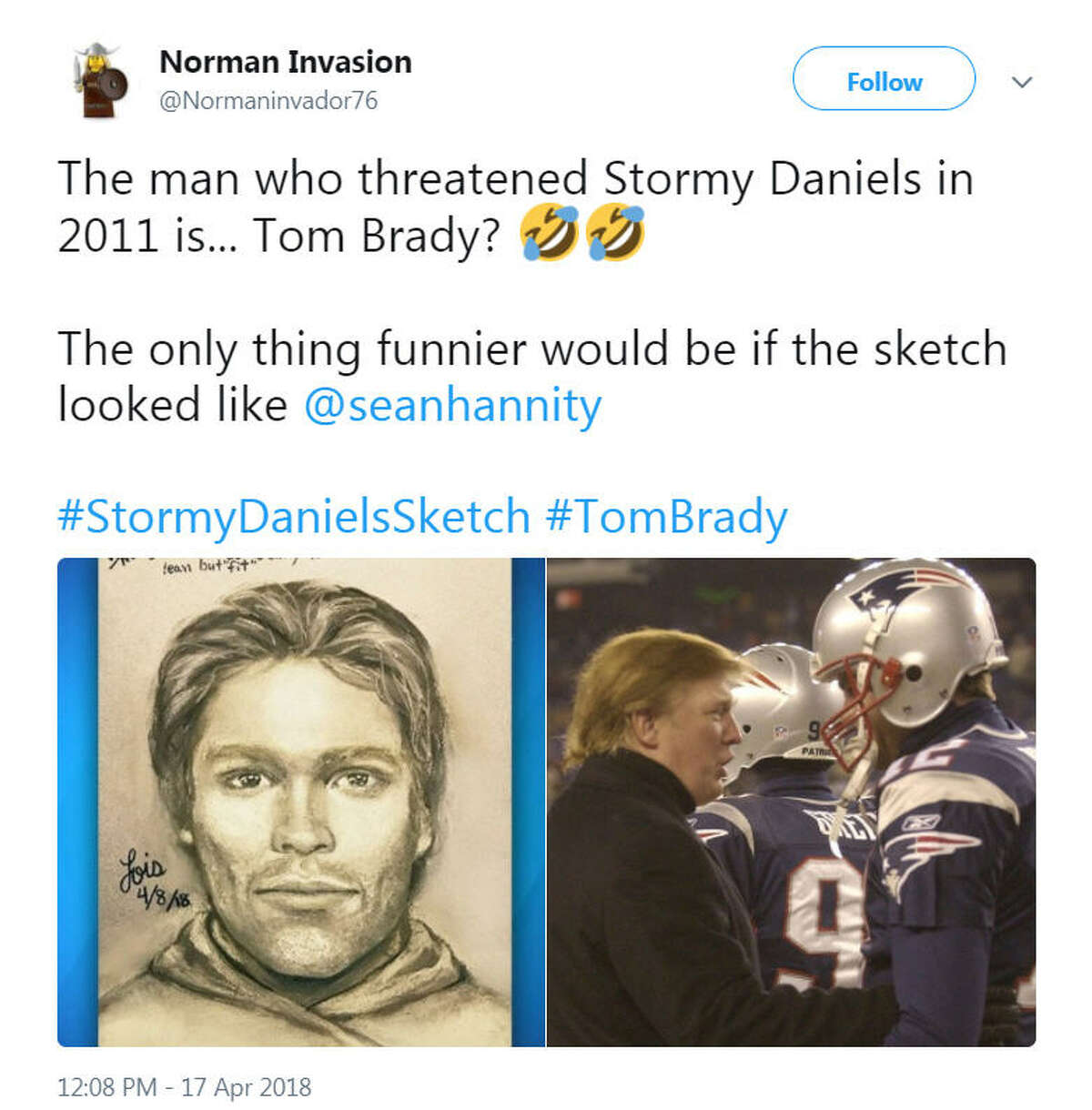 A sketch of the man who adult film actress Stormy Daniels said threatened her in a Las Vegas parking lot in 2011 about her alleged affair with President Donald Trump was released on April 17, 2018. Twitter was quick to identify potential suspects.Image source: Twitter