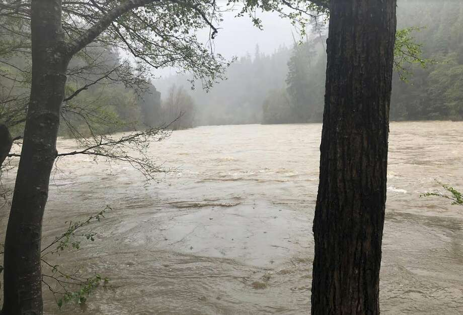 In this photo released Thursday, April 12, 2018, by The Mendocino County Sheriff's Office is the Eel River in Northern California. Search and rescue crews have found the bodies of the Thottapilly family afte their vehicle was seen plunging into a storm-swollen river last week. Two members of the search crew suffered major injuries in a car crash during rescue efforts. (Lt. Shannon Barney/Mendocino County Sheriff's Office via AP) Photo: Shannon Barney / Associated Press