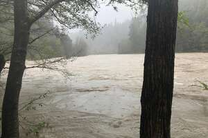 In this photo released Thursday, April 12, 2018, by The Mendocino County Sheriff's Office is the Eel River in Northern California. The Mendocino County Sheriff's Office says recovered debris and personal items confirm that a vehicle seen plunging into a storm-swollen river last week belonged to a family that went missing. A sheriff's office statement Thursday, April 12, 2018, says the vehicle and its occupants haven't been located in the Eel River but searchers have found numerous items from the vehicle's body and interior. They say the items are consistent with a family on vacation and unspecified items were identified by relatives of the Thottapilly family. (Lt. Shannon Barney/Mendocino County Sheriff's Office via AP)