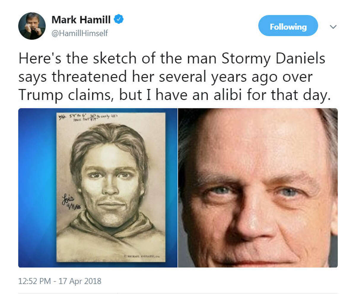 A sketch of the man who adult film actress Stormy Daniels said threatened her in a Las Vegas parking lot in 2011 about her alleged affair with President Donald Trump was released on April 17, 2018. Twitter was quick to identify potential suspects.Image source:Twitter
