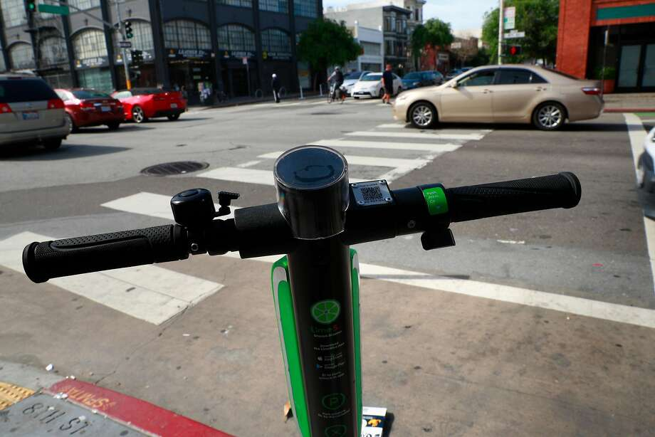 A Lime scooter parked along 8th st. at Flosom, as seen on Mon. April 9, 2018, in San Francisco, Calif. Photo: Michael Macor, The Chronicle
