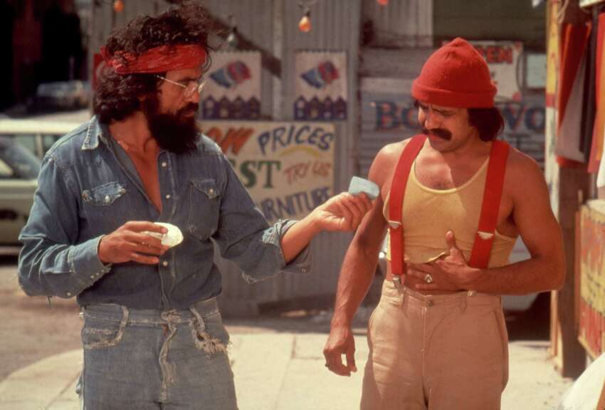 Comedians Tommy Chong and Cheech Marin in a scene from the movie