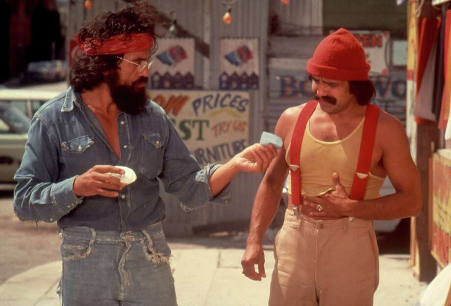 "Comedians Tommy Chong and Cheech Marin in a scene from the movie ""Up In Smoke"" which was released in September 1978. The duo will celebrate the film's 40th anniversary with a concert and comedy show at the Capitol Theatre in Port Chester on April 20, 2018. Photo: Michael Ochs Archives / Getty Images / This content is subject to copyright."