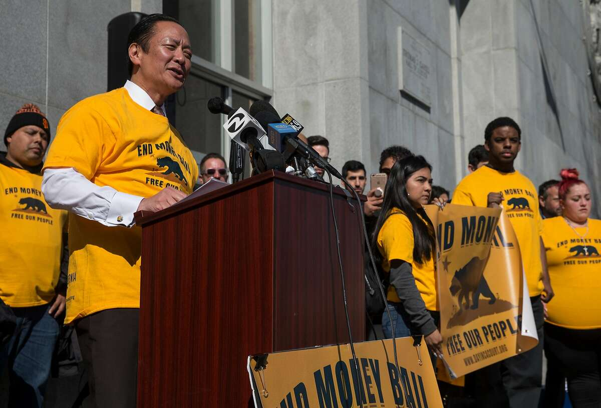 San Francisco Public Defender Jeff Adachi speaks during a rally calling for the end of the money bail system in California.
