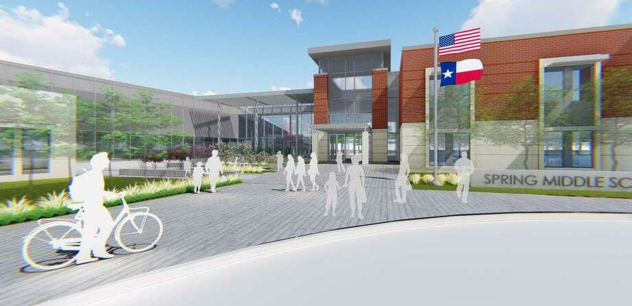 Spring ISD had its first look at the designs for a new middle school it plans to build as part of its $330 million bond approved by voters in 2016. The new school is designed and will be built by architecture firm Stantec. Photo: Courtesy Of Stantec