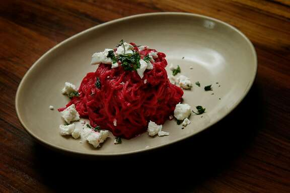 Spaghetti Rossi consisting of red beet spaghetti and goat cheese at Pasta Pop Up, Thursday, April 12, 2018, in San Francisco, Calif. The Italian restaurant is located at 550 Green Street.