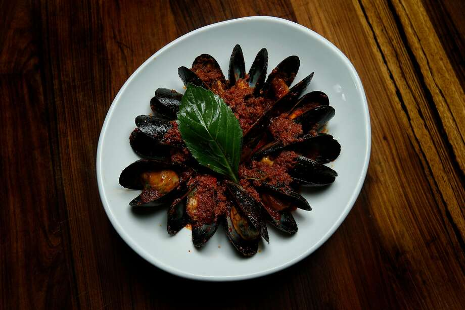 Pasta Pop-Up in North Beach serves mussels ($10) enhanced with nduja sausage. Photo: Photos By Santiago Mejia / The Chronicle