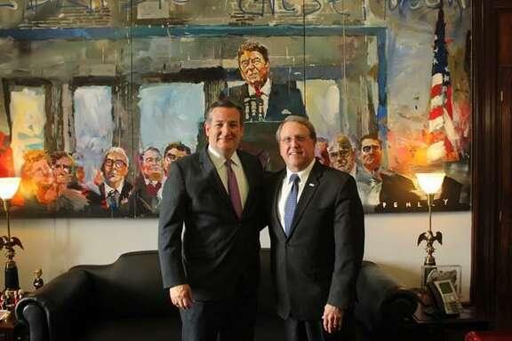 Texas Sen. Ted Cruz. left, recently introduced Missouri CityMayor Owenin the Commerce Committee hearing on hurricane preparedness.