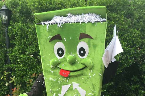 Mycle Recycle, Missouri City Green's mascot, invites people to participate in Missouri City Green's Shredding Event on April 28 from 9 a.m.-noon at Public Safety Headquarters, 3849 Cartwright Road, Missouri City. Visit www.missouricitygreen.org for information.