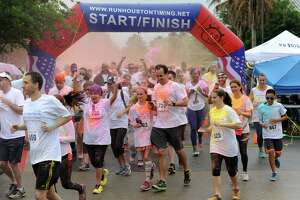 Participants start the Katy Color Run 5K in Katy on Saturday, April 7, 2018.