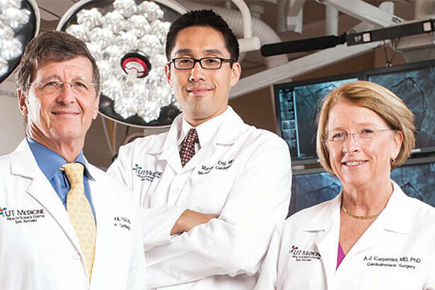 Steven Bailey, MD, past Chief of the Briscoe Division of Cardiology at UT Health San Antonio; Edward Sako, MD, PhD, Division Chief of Adult Cardiac Surgery at UT Health; and Andrea Carpenter, MD, PhD, Professor of Surgery, UT Health