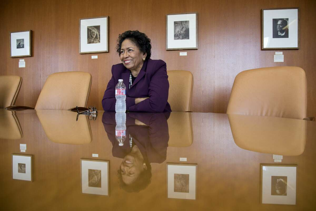 Ruth Simmons, president of Prairie View A&M University, laughs during an interview at Prairie View A&M University, in Prairie View. ( Jon Shapley / Houston Chronicle )