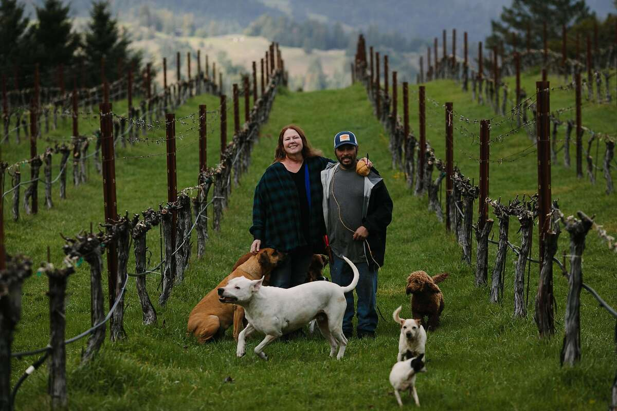Jes�s Velasquez and Patricia Greer photographed at their vineyard, Waterhorse Ridge Vineyard, in Cazadero, Calif., Friday, March 23, 2018.
