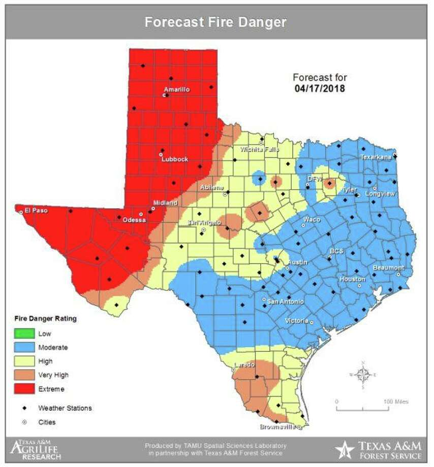 The Texas A&M Forest Service is calling for a high probability of a significant wildfire outbreak in West Texas and the Panhandle on Tuesday with elevated to critical wildfire conditions.  Photo: Texas A&M Forest Service